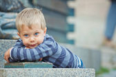 Smiling three year old boy clouse-up portrait — Stock Photo