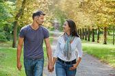 Jovem casal andando no parque outono — Fotografia Stock
