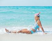 Happy diving girl — Stock Photo