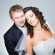 Stock Photo: Happy just married bride and groom