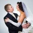 Stock Photo: Just married groom and bride