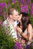 Romantic kiss among purple flowers — Stock Photo