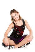 Nádherná holka tanečník sedí na podlaze — Stock fotografie