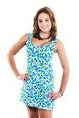 Beautiful girl in wearing cute dress with blue cherries — Foto de Stock
