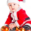 Stock Photo: Little cute baby gnome in red