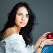Sexy young woman with fresh red apple — Stock Photo #7324195