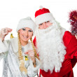 Russian Christmas characters father Frost and Snow Maiden - Stock Photo