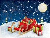 Santa's sleigh tree and snow — Stock Vector