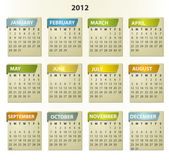 2012 calendar - square frames with tabs — Stock Vector