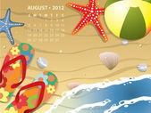 August calendar - Beach with starfush and ball — Stock Vector