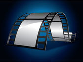 Film strip on blue background — Stock Vector