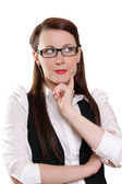 Businesswoman thinking about new concept — Stock Photo