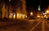 City center in Lviv at night — Fotografia Stock