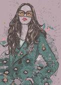 Girl on grunge background — Stock Vector