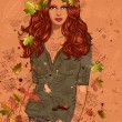 Girl with autumn leaves — Vector de stock
