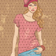 Stock Vector: Vintage fashion woman
