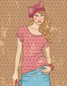 Vintage fashion woman — Wektor stockowy