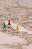 地図とピン — ストック写真