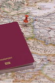 Map and passport — Stock Photo
