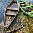 Stock Photo: Two old boats on the river bank.