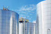 Metallic storage tanks — Stock Photo