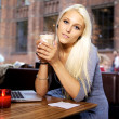 Young woman with laptop on cafe — Stockfoto