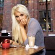 Cute girl on cafe — Stockfoto