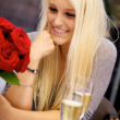 Stock Photo: Cute girl on restaurant