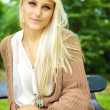 Serene Enigmatic Blonde Beauty - Stock Photo
