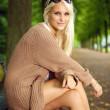 Glamorous Fashion Model In Knitwear — Stock Photo