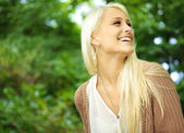 Vivacious Laughing Young Blonde Woman — Stock Photo