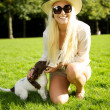 Sexy Blonde Woman With Puppy — Stock Photo #7346074