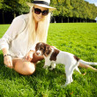 Playtime Dog And Woman In Park — Stock Photo #7346082