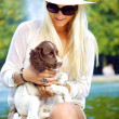 Happy Lady Interacting With Dog — Stock Photo