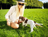 Playtime Dog And Woman In Park — Stock Photo