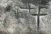 Cross engraved — Stock Photo