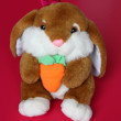 Stock Photo: Hare Toy is sitting with Carrot