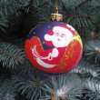 Decorative chrristmas ball on a fir tree - Stock Photo