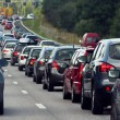 A traffic jam with rows of cars - Stock Photo