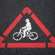 Bicycle and pedestrian warning signs — Stockfoto