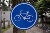 Bicycle and pedestrian warning signs — Stock Photo