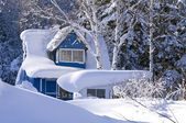 Country house in a snowdrift — Stock Photo