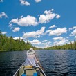 Stock Photo: Paddling into wilds