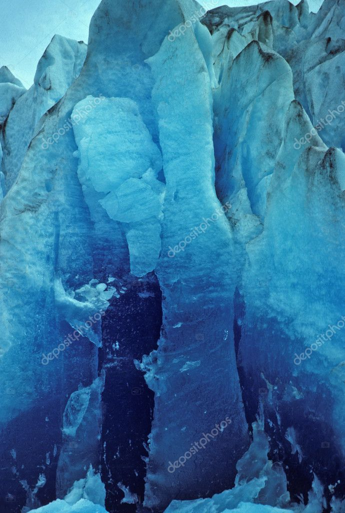 Newly exposed glacial ice of the Mendenhall Glacier in Alaska  Stock Photo #6936701