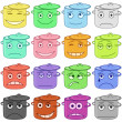 Stock Photo: Pans smilies, set