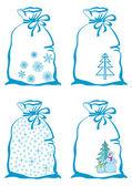 Símbolos de natal em sacos — Foto Stock
