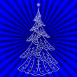 Stock Photo: Christmas tree on blue