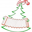 Christmas with accordion — Foto de Stock