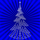 Christmas tree on blue — Stock Photo