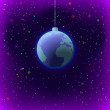 Christmas background, Earth in space — Stock Photo